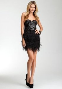 "Bebe ""Isis Sequin Feather Dress"""